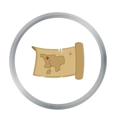 Treasure map icon cartoon Singe western icon from vector