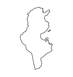 Tunisia map of black contour curves on white vector