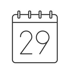 Twenty ninth day month linear icon vector