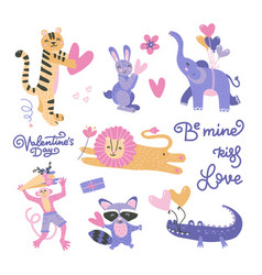 valentines day set with cute funny animals hearts vector image