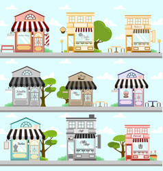 various store front building background design set vector image