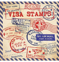 Various Visa Stamps Background vector image