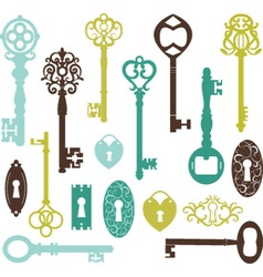 Vintage keys silhouette vector