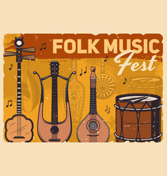 Vintage poster folk music instruments fest vector