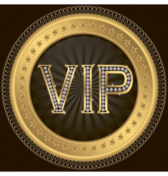Vip golden label with diamonds vector