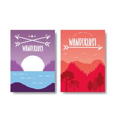Wanderlust landscape design vector