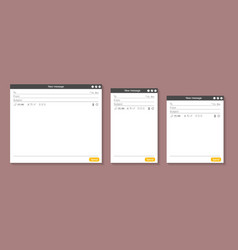 Web page opened email empty template mockup set vector