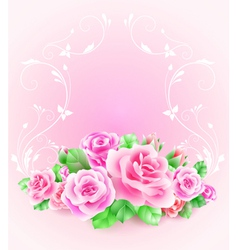 Wedding card or invitation with roses vector image