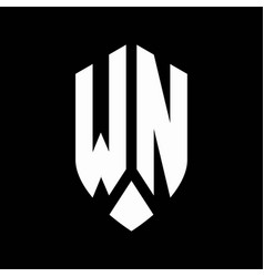 wn logo monogram with emblem shield style design vector image