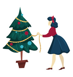 woman decorating christmas tree and putting vector image