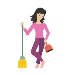 worker of cleaning company with dustpan and broom vector image