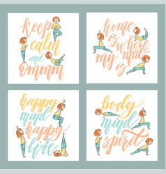 yoga phrases lettering background vector image