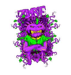 zombie pumpkin vector image