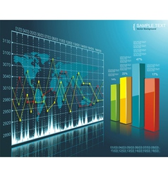 Color Diagram on the digital technology background vector image