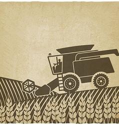 combine harvester in field old background vector image