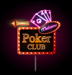 Neon sign Poker club vector image