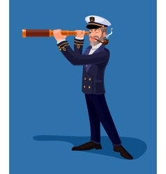 Sea captain smoking a pipe and looking through vector image vector image
