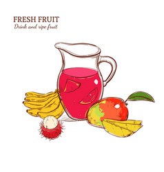sketch colored fresh drink concept vector image