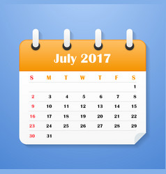 Usa calendar for july 2017 week starts on sunday vector