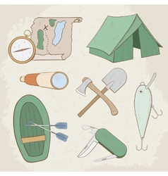 Camping hand drawn icons vector image vector image