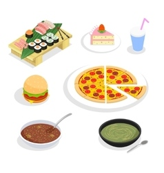 Food isometric icons Hamburgers and sushi cake vector image vector image