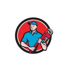 Plumber holding monkey wrench circle cartoon vector
