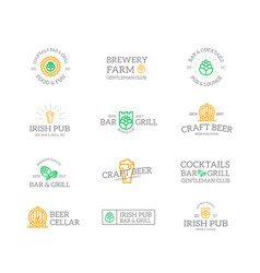 set of retro vintage beer and alcohol logo or vector image