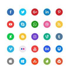 social media circular icons set vector image