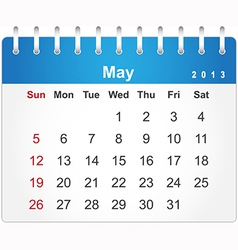 Stylish calendar page for May 2013 vector image