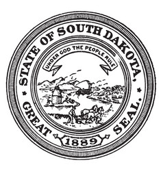the great seal of the state of south dakota 1889 vector image