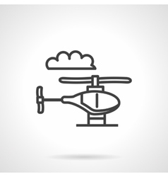 Toy helicopter simple line icon vector image vector image