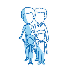 family portrait mom and dad with childrens vector image