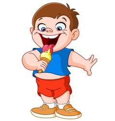 kid eating icecream vector image vector image