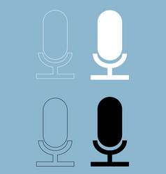 microphone the black and white color icon vector image vector image