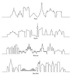 set of minimal linear skyline paris berlin vector image