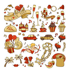set of valentines icons signs and symbols vector image
