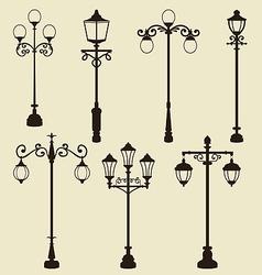 Set of vintage various ornamental streetlamps vector