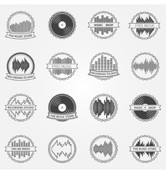 Sound logo and emblem set vector image vector image