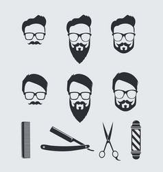 vintage barber tools and elements vector image