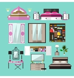 Bedroom interior objects in flat style vector image vector image
