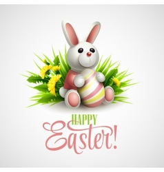 Easter card with bunny eggs and flowers vector image