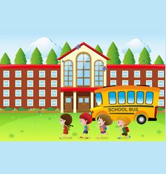 happy kids going to school vector image