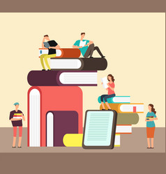 man and woman reading books people and book vector image vector image