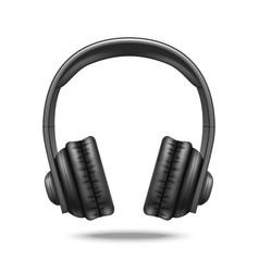 realistic detailed 3d black earphones vector image vector image