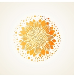 Watercolor sunny yellow lace pattern vector image