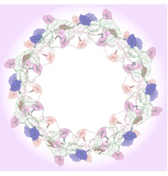 Wreath with pink and blue bindweed vector image vector image