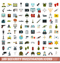 100 security investigation icons set flat style vector
