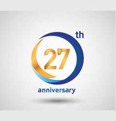 27 anniversary design with blue and golden circle vector