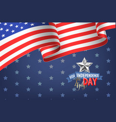4th july usa independence day banner with american vector image