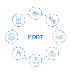 8 port icons vector